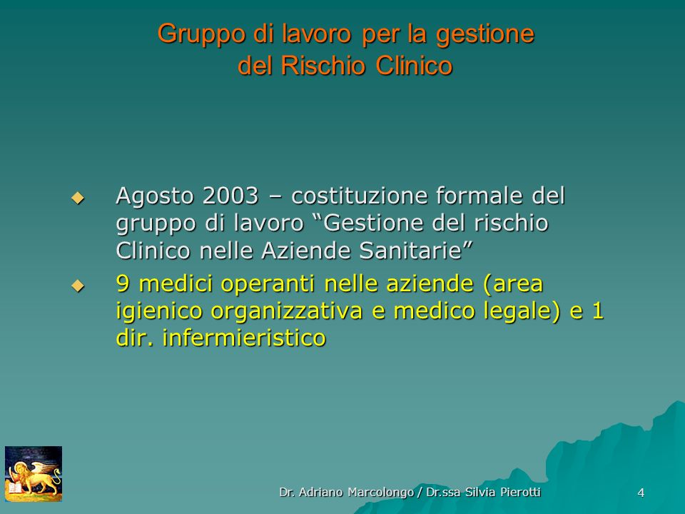 Gruppo di lavoro per la gestione del Rischio Clinico