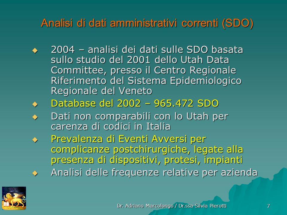 Analisi di dati amministrativi correnti (SDO)