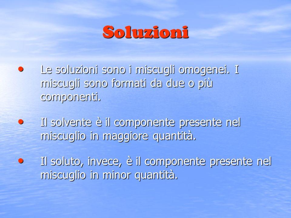 Soluzioni Le soluzioni sono i miscugli omogenei. I miscugli sono formati da due o più componenti.