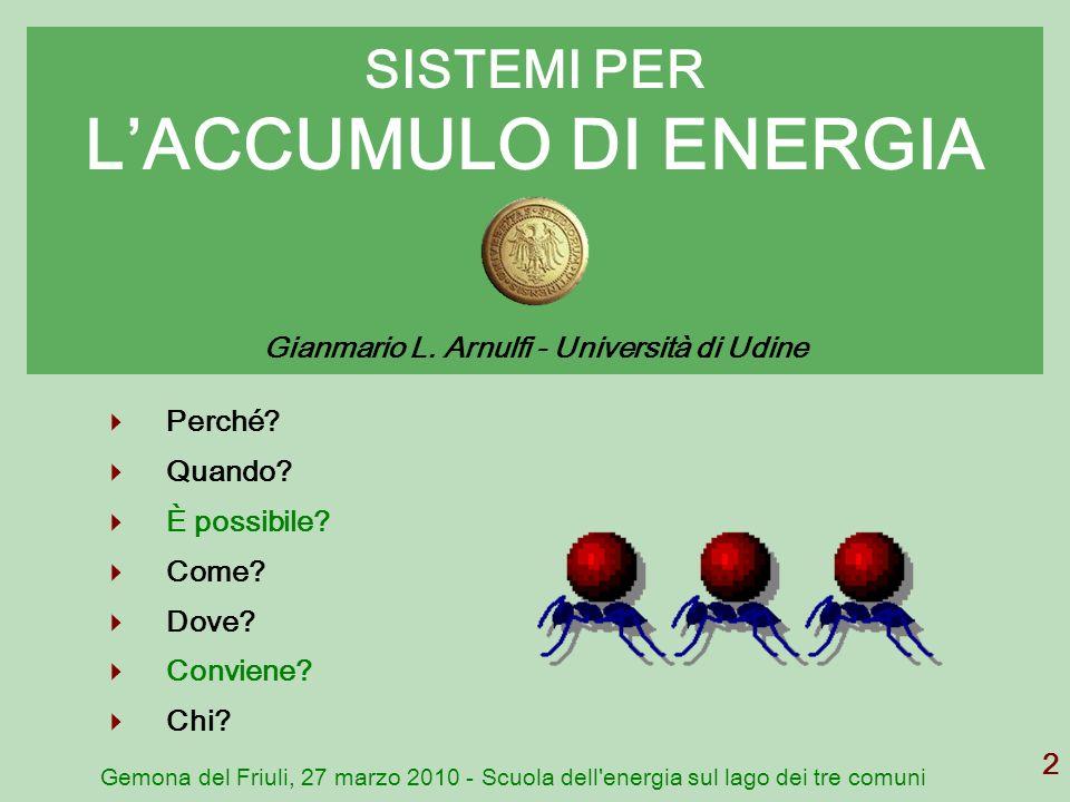 SISTEMI PER L'ACCUMULO DI ENERGIA Gianmario L