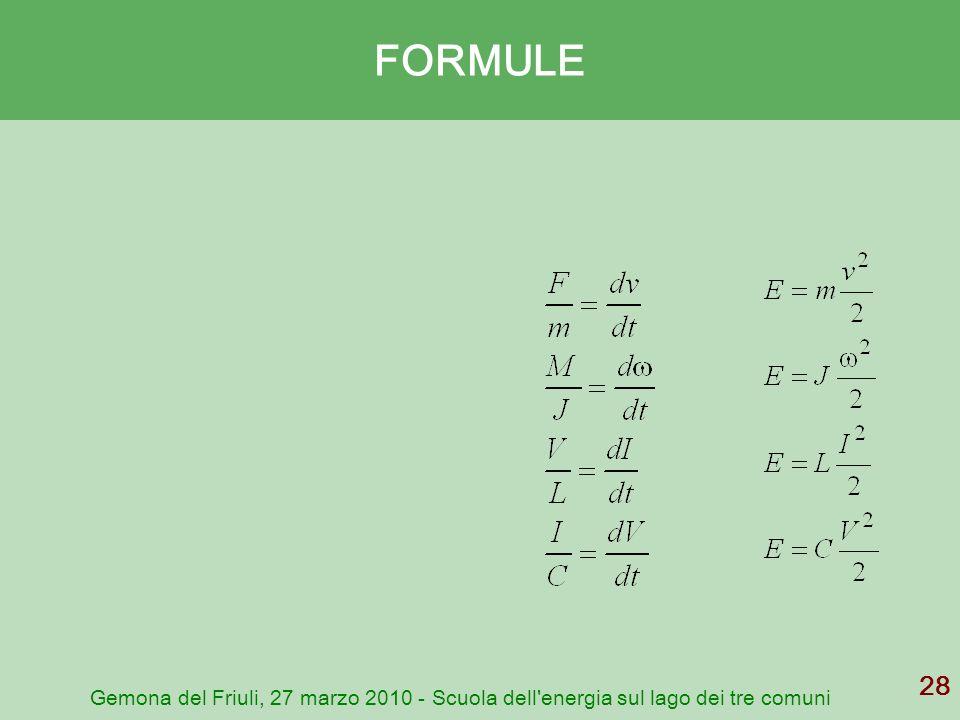 FORMULE Gemona del Friuli, 27 marzo 2010 - Scuola dell energia sul lago dei tre comuni