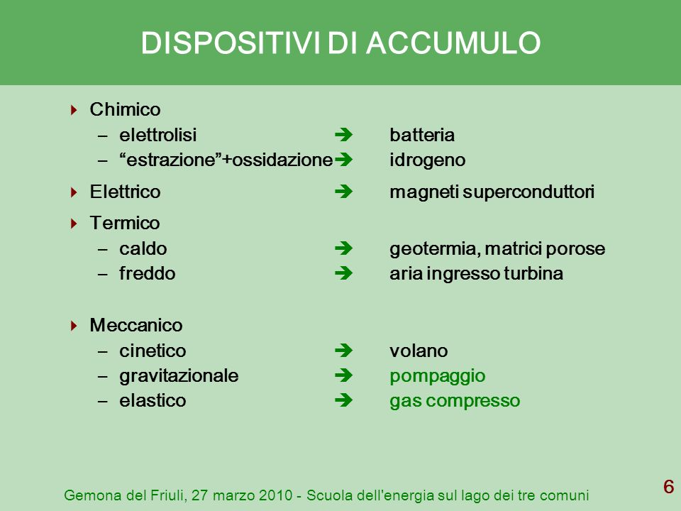 DISPOSITIVI DI ACCUMULO