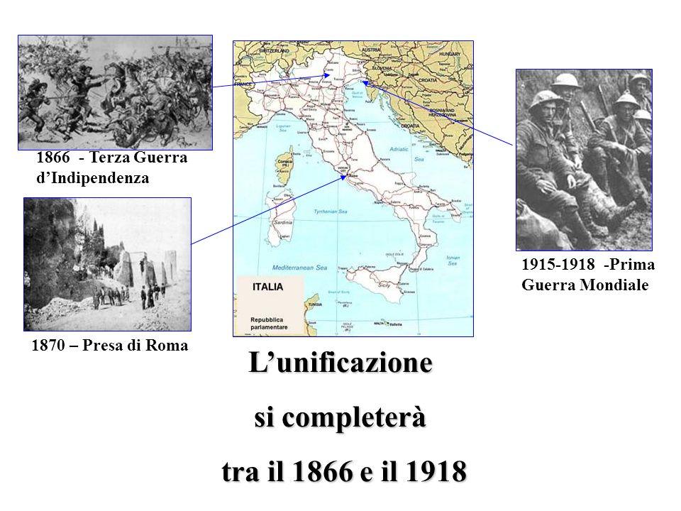 L'unificazione si completerà tra il 1866 e il 1918