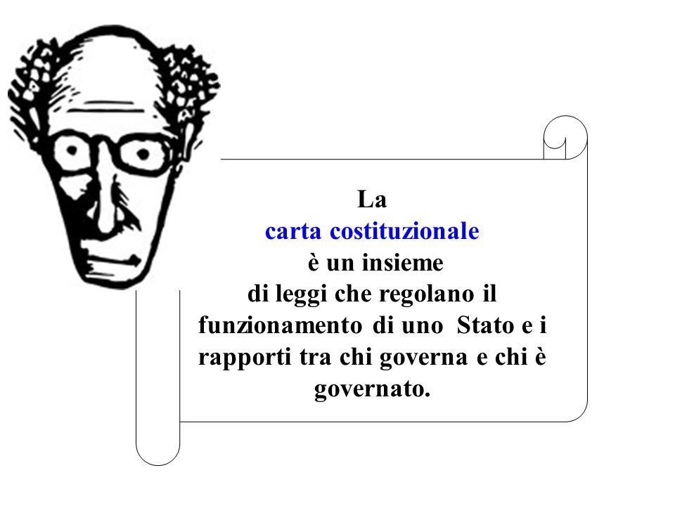 La carta costituzionale è un insieme di leggi che regolano il funzionamento di uno Stato e i rapporti tra chi governa e chi è governato.