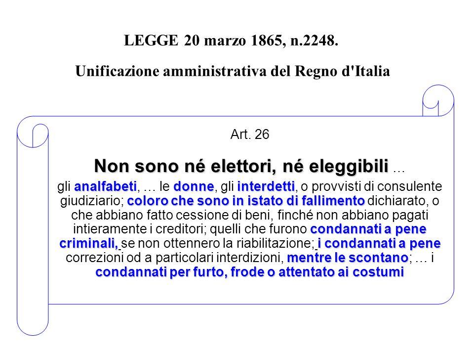 Art. 26 Non sono né elettori, né eleggibili …