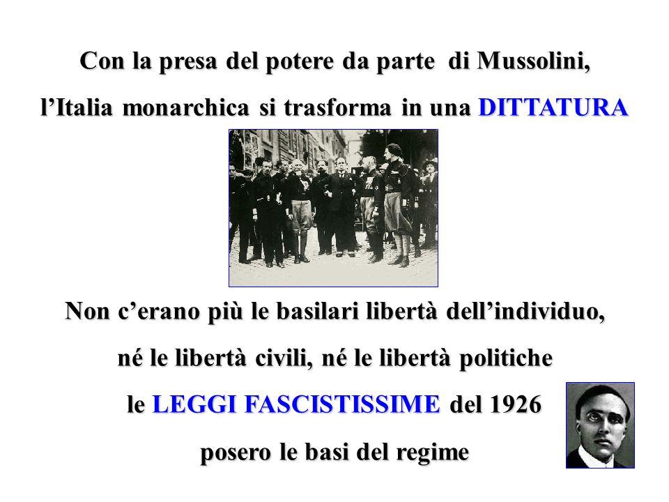 Con la presa del potere da parte di Mussolini,