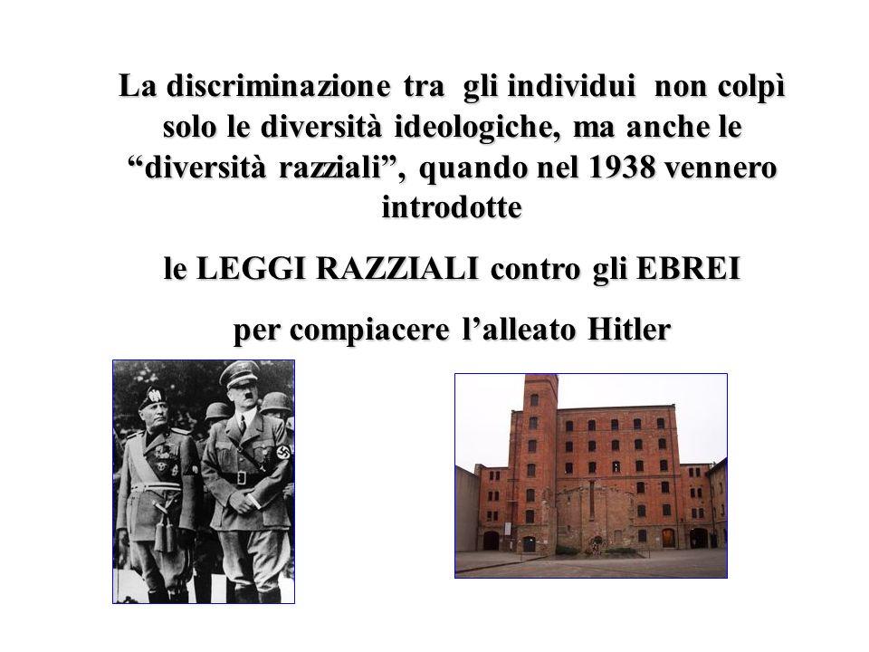 le LEGGI RAZZIALI contro gli EBREI per compiacere l'alleato Hitler