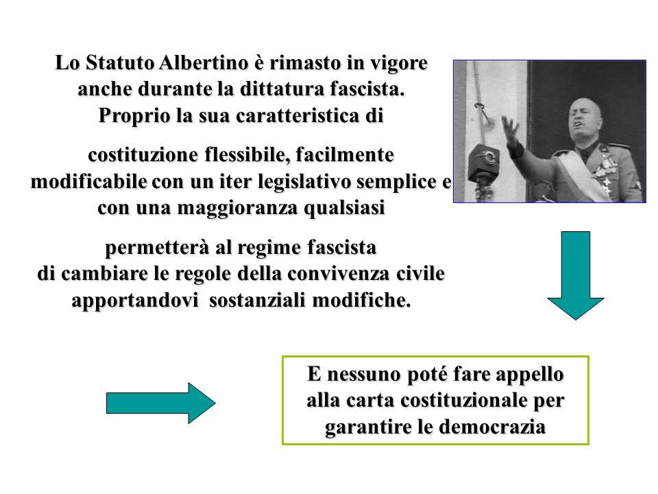 Lo Statuto Albertino è rimasto in vigore anche durante la dittatura fascista. Proprio la sua caratteristica di