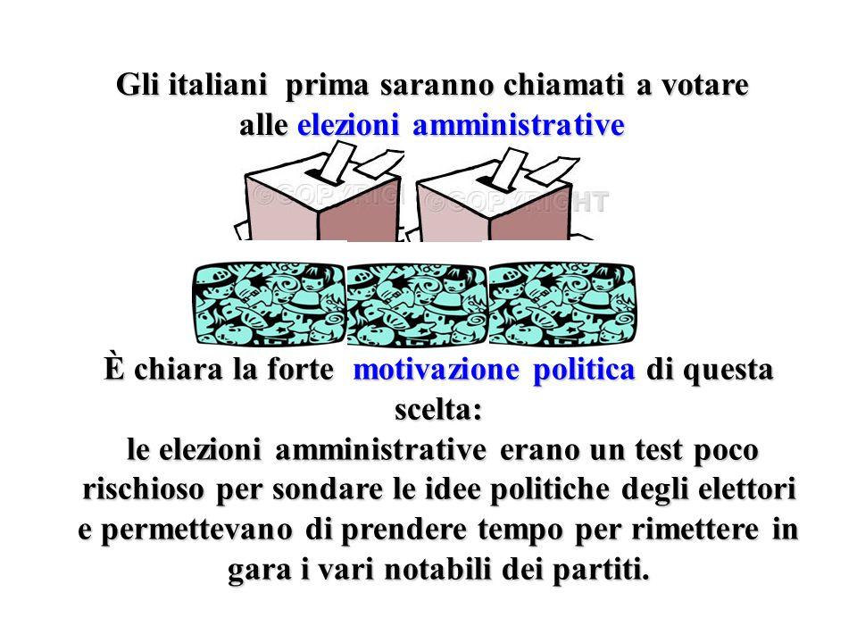 Gli italiani prima saranno chiamati a votare alle elezioni amministrative