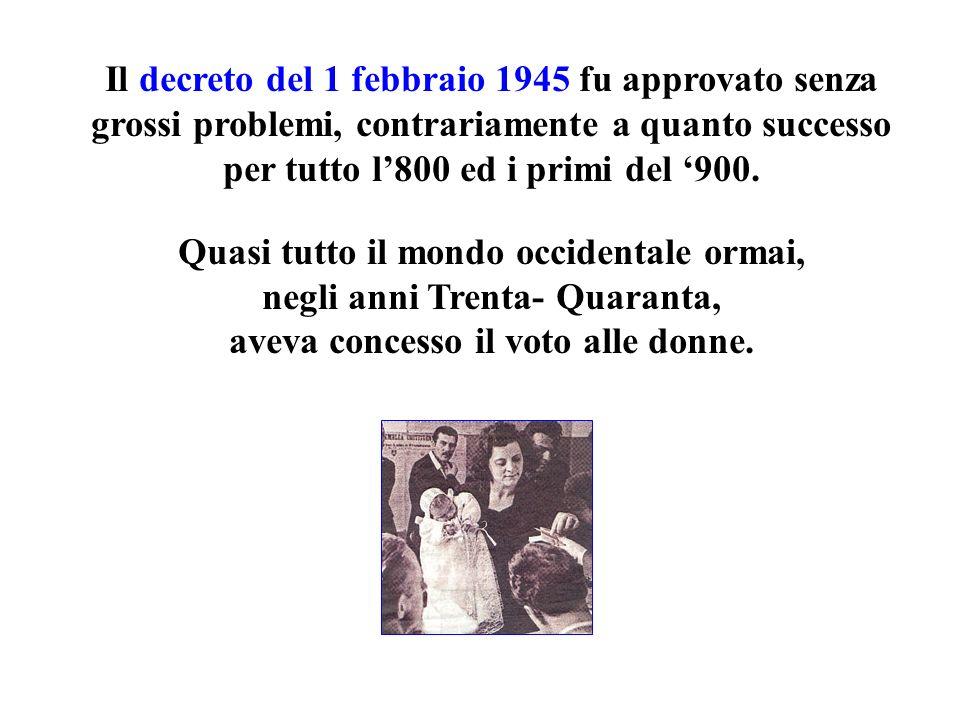Il decreto del 1 febbraio 1945 fu approvato senza grossi problemi, contrariamente a quanto successo per tutto l'800 ed i primi del '900.