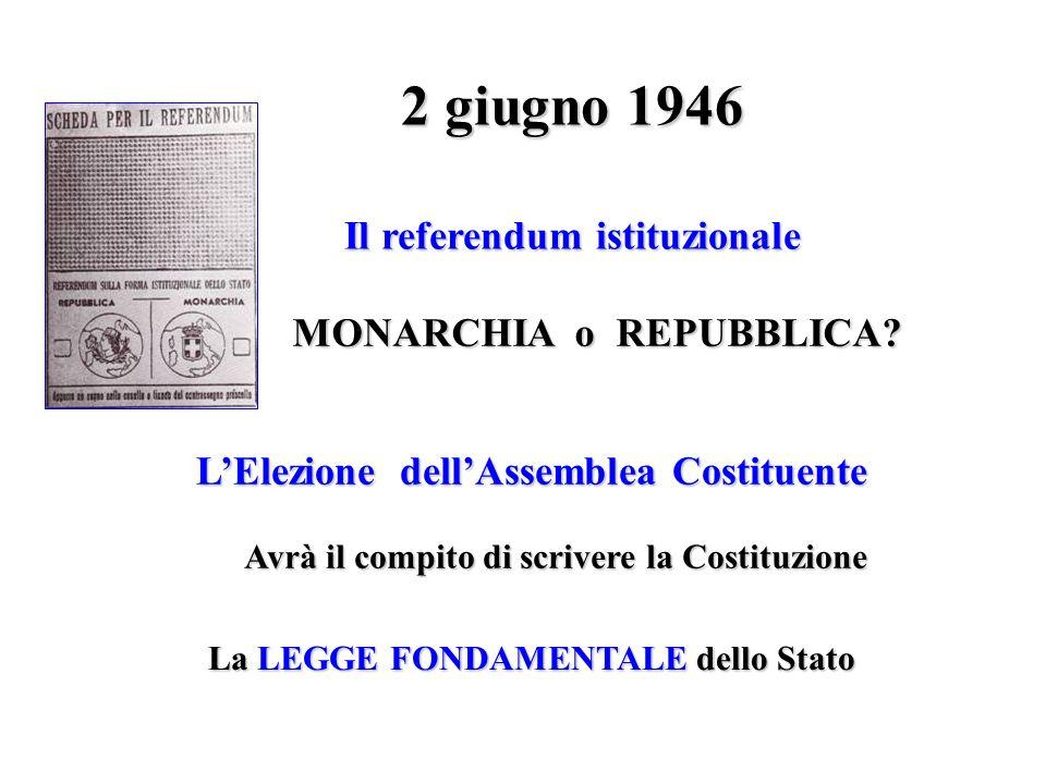 2 giugno 1946 Il referendum istituzionale MONARCHIA o REPUBBLICA