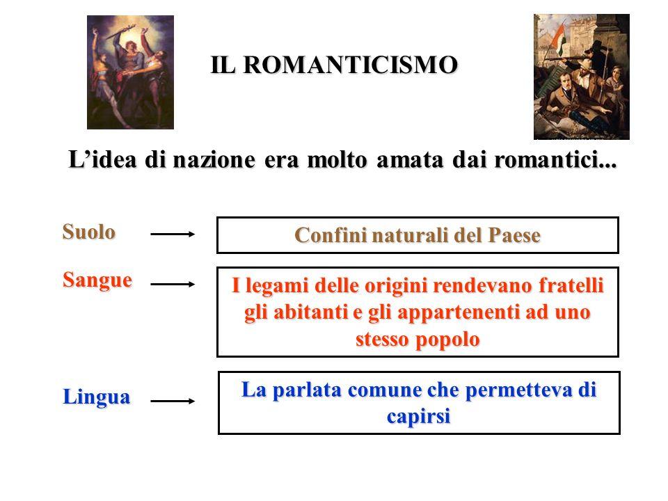 IL ROMANTICISMO L'idea di nazione era molto amata dai romantici...