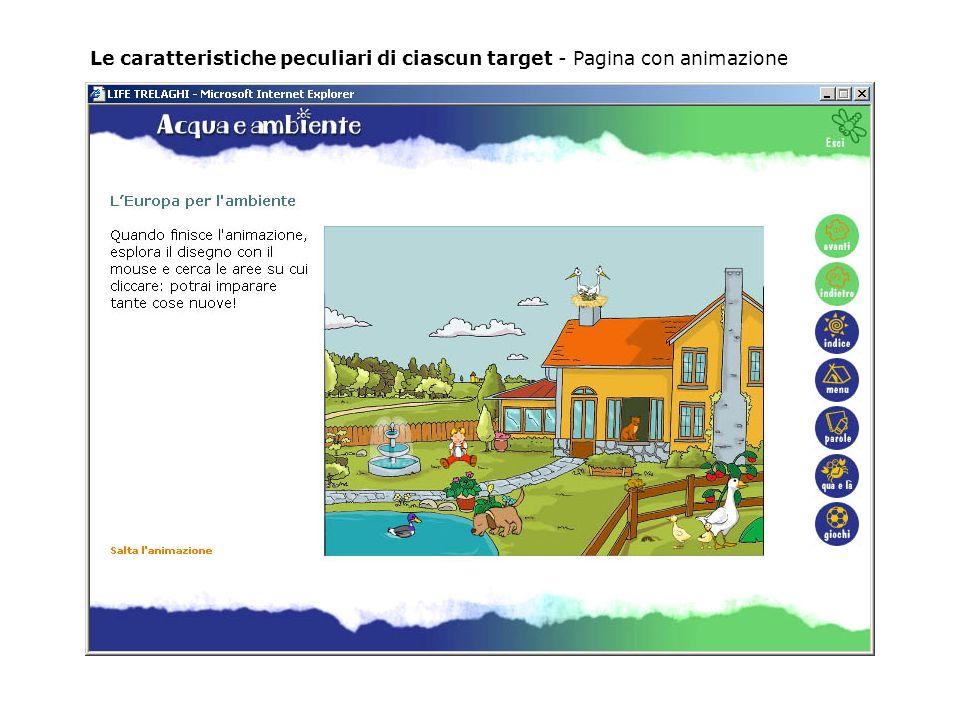 Le caratteristiche peculiari di ciascun target - Pagina con animazione