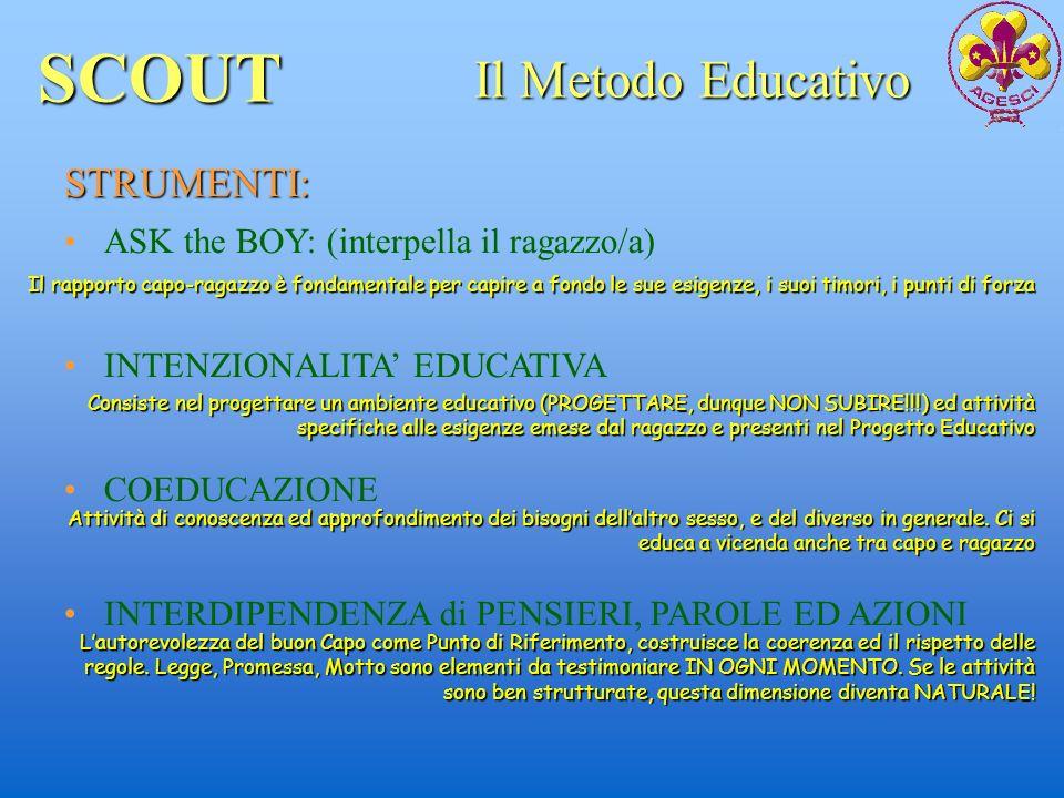 SCOUT Il Metodo Educativo STRUMENTI: