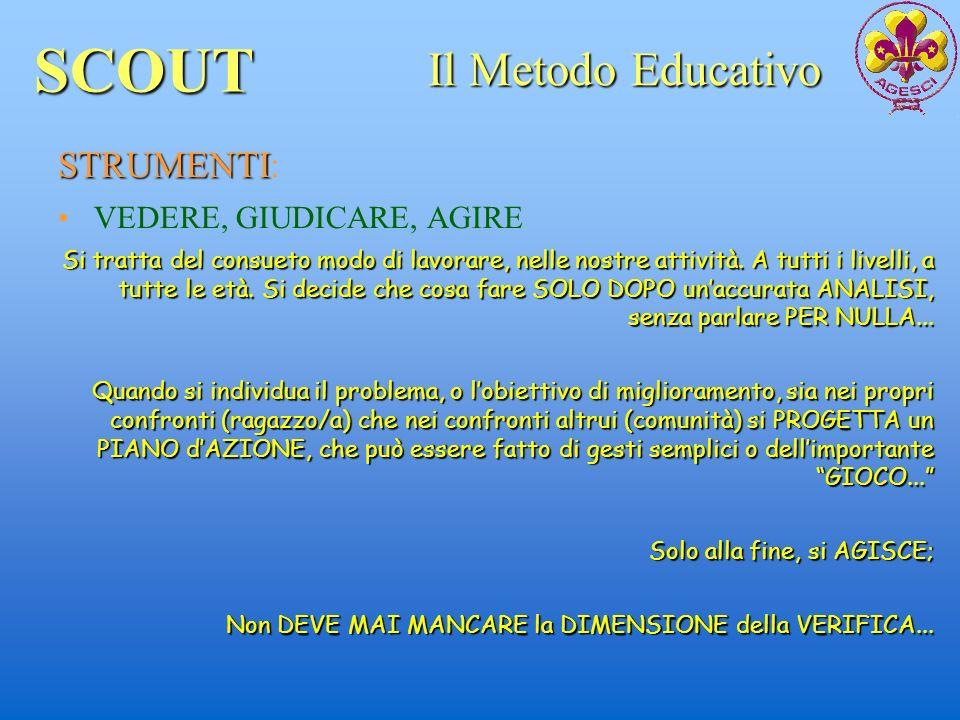 SCOUT Il Metodo Educativo STRUMENTI: VEDERE, GIUDICARE, AGIRE
