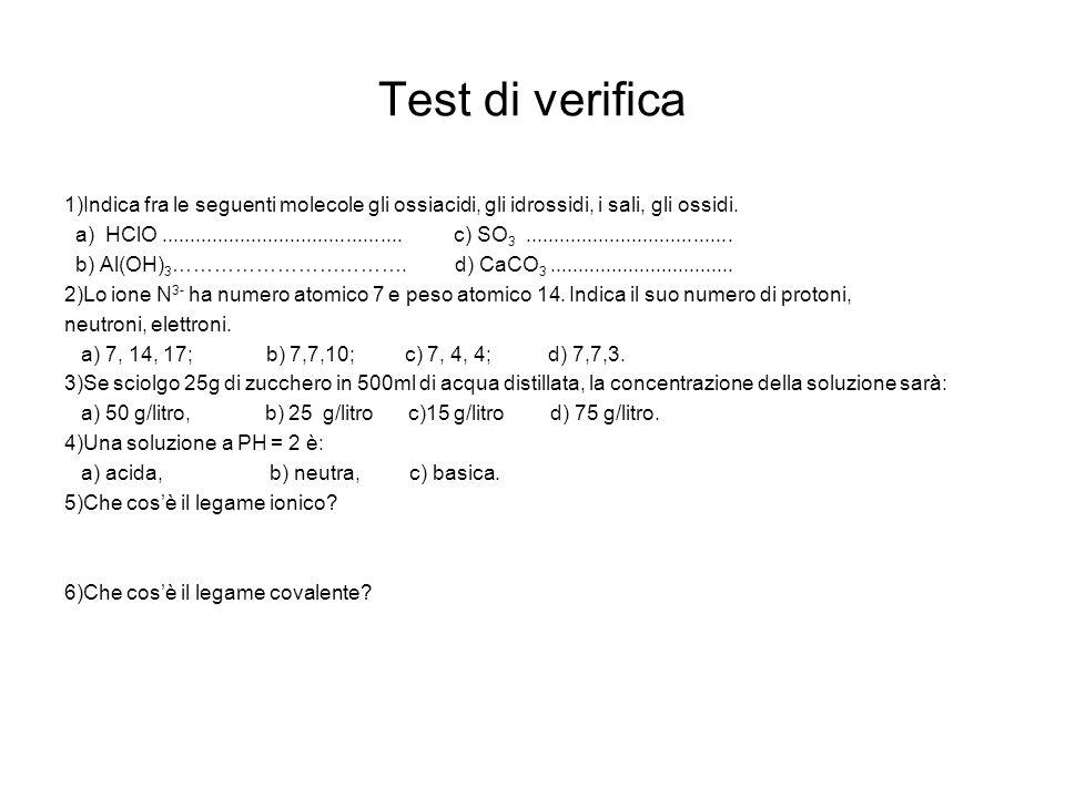 Test di verifica 1)Indica fra le seguenti molecole gli ossiacidi, gli idrossidi, i sali, gli ossidi.