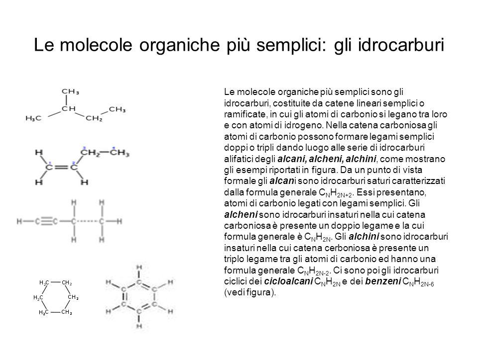 Le molecole organiche più semplici: gli idrocarburi