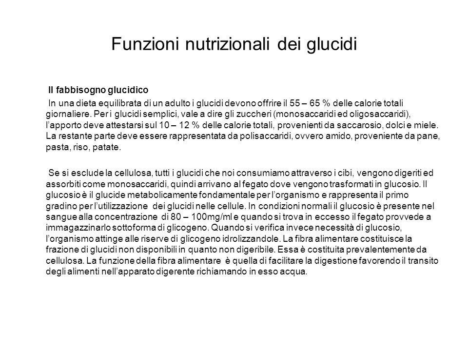 Funzioni nutrizionali dei glucidi