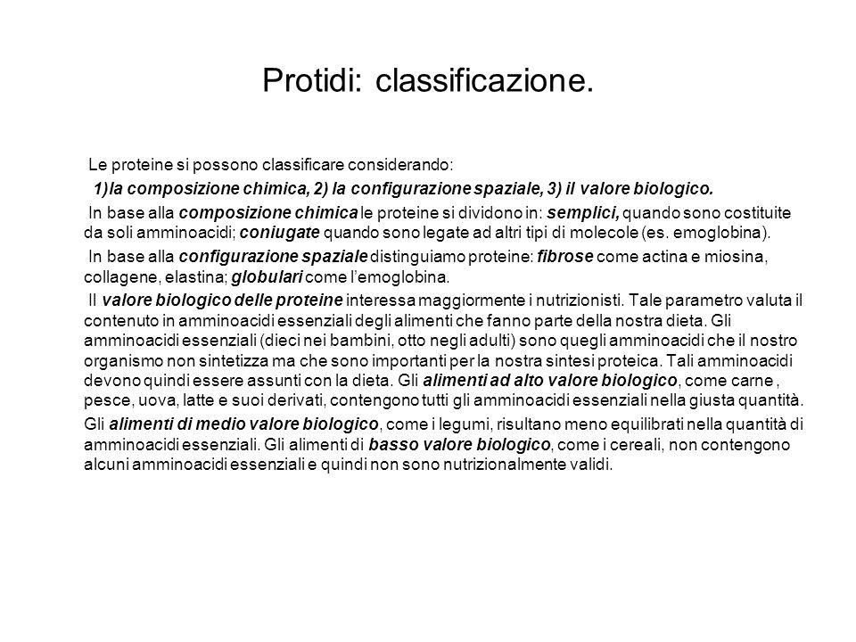 Protidi: classificazione.