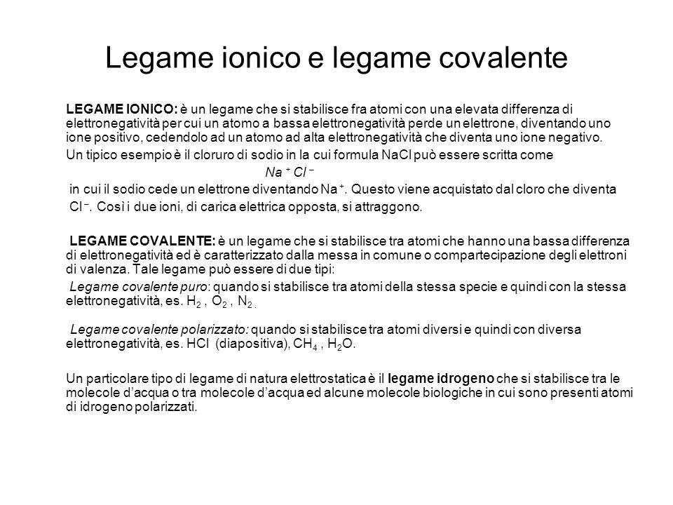 Legame ionico e legame covalente