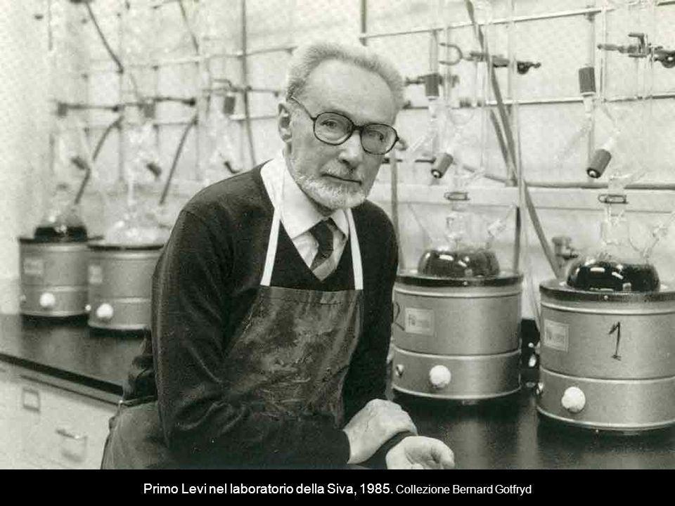 Primo Levi nel laboratorio della Siva, 1985. Collezione Bernard Gotfryd