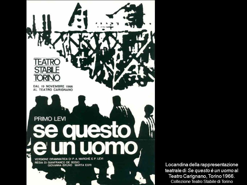 Locandina della rappresentazione teatrale di Se questo è un uomo al Teatro Carignano, Torino 1966.
