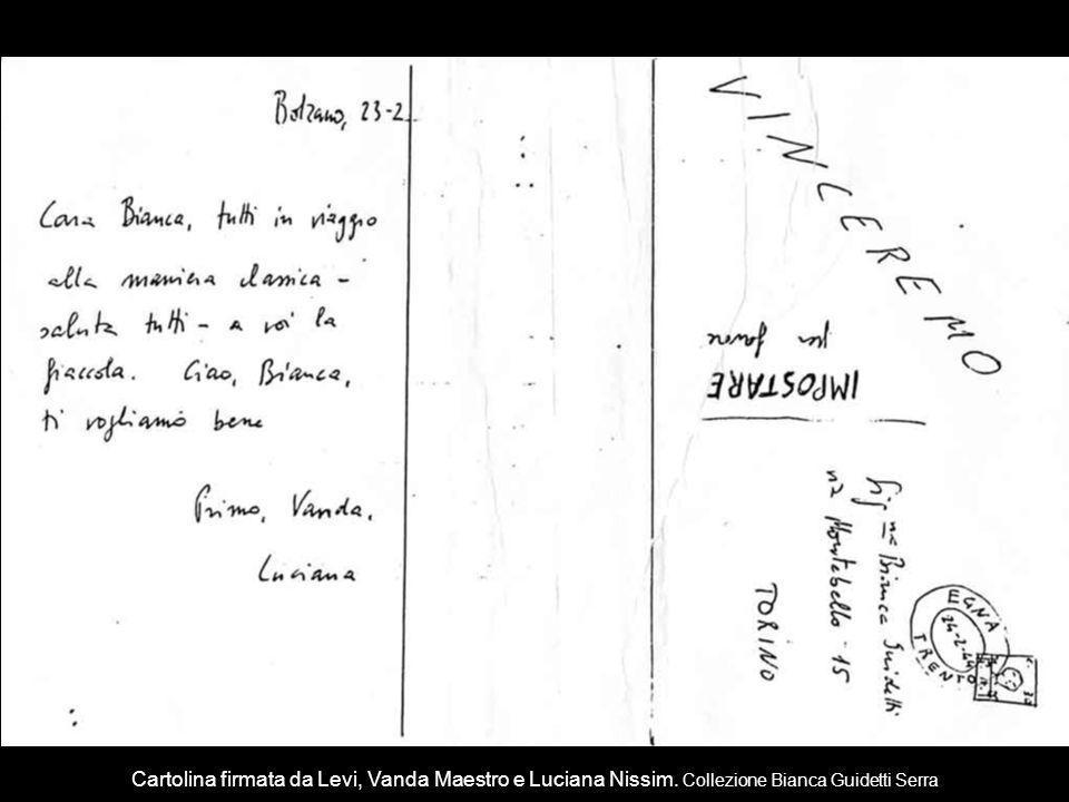 Cartolina firmata da Levi, Vanda Maestro e Luciana Nissim