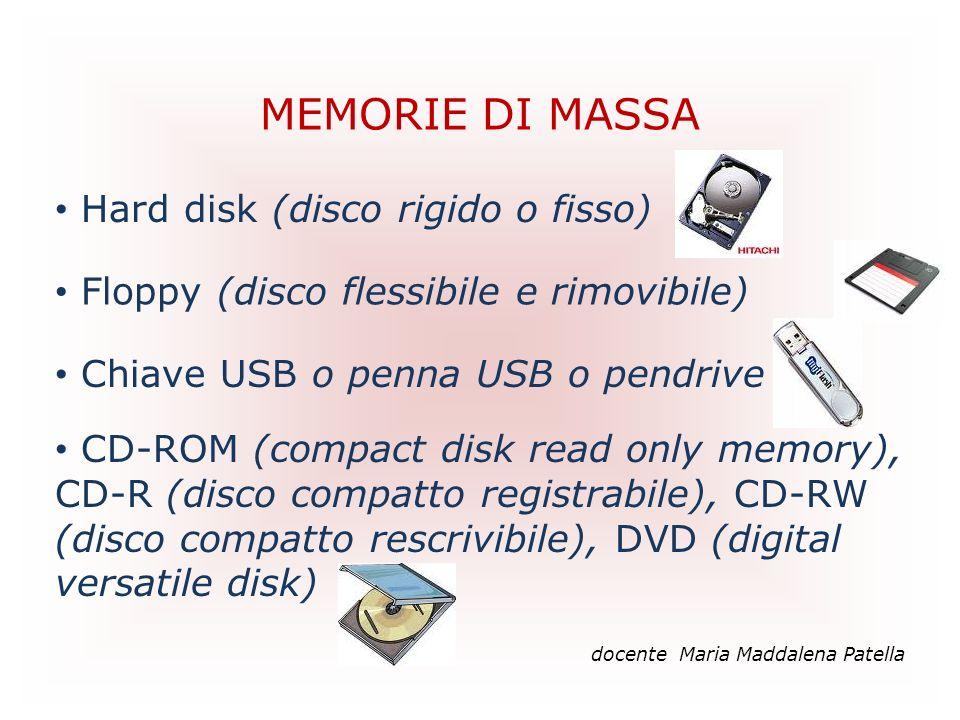 MEMORIE DI MASSA Hard disk (disco rigido o fisso)