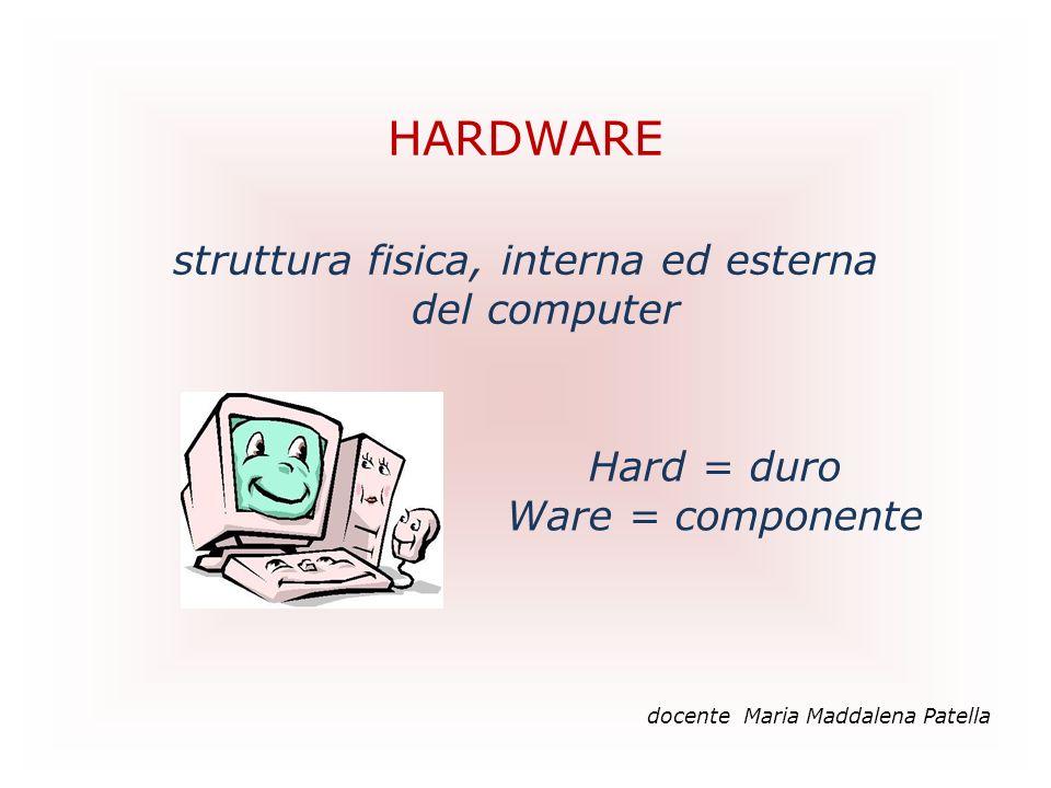 HARDWARE struttura fisica, interna ed esterna del computer