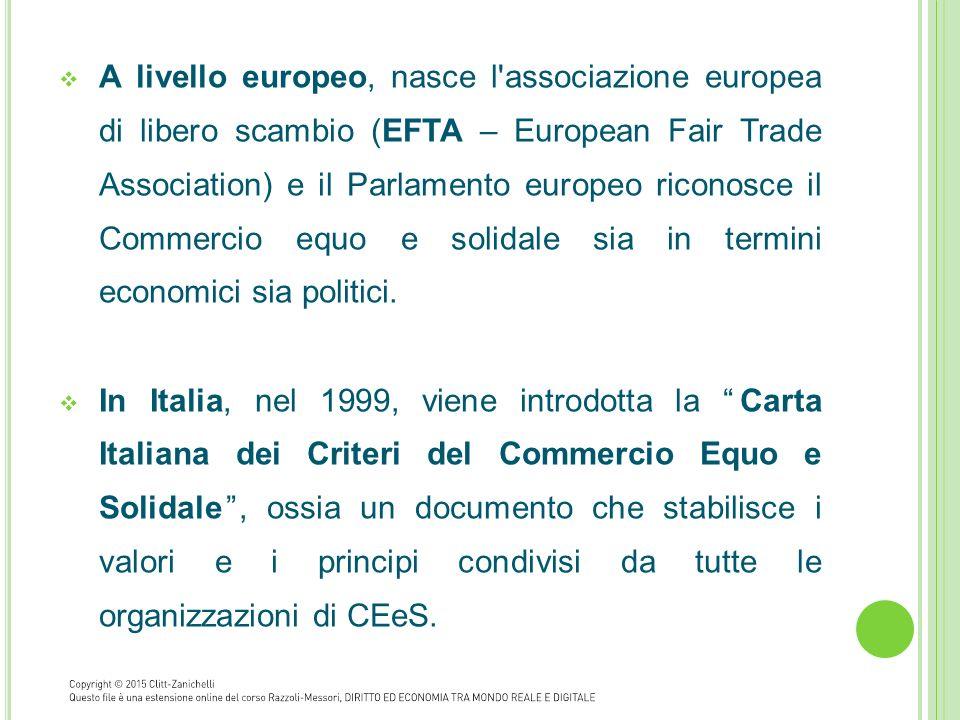 A livello europeo, nasce l associazione europea di libero scambio (EFTA – European Fair Trade Association) e il Parlamento europeo riconosce il Commercio equo e solidale sia in termini economici sia politici.