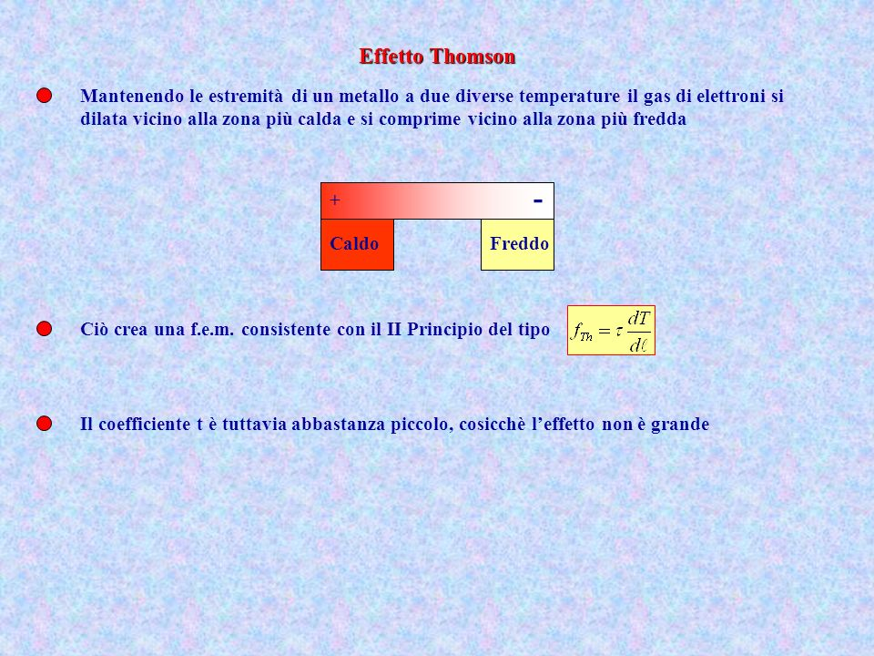Effetto Thomson Mantenendo le estremità di un metallo a due diverse temperature il gas di elettroni si.