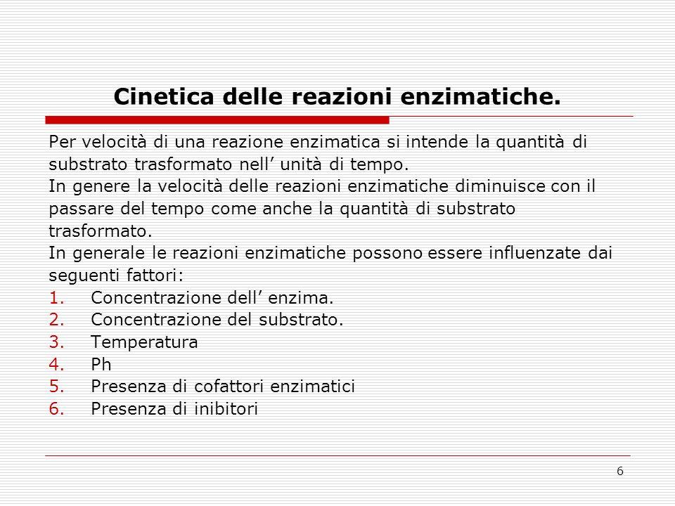 Cinetica delle reazioni enzimatiche.