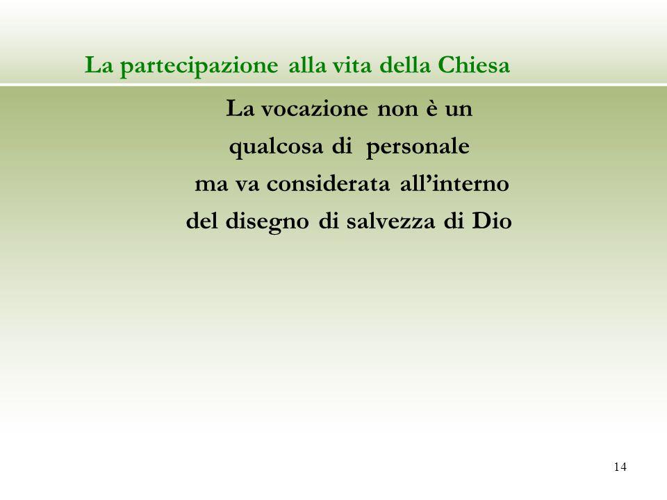 La partecipazione alla vita della Chiesa