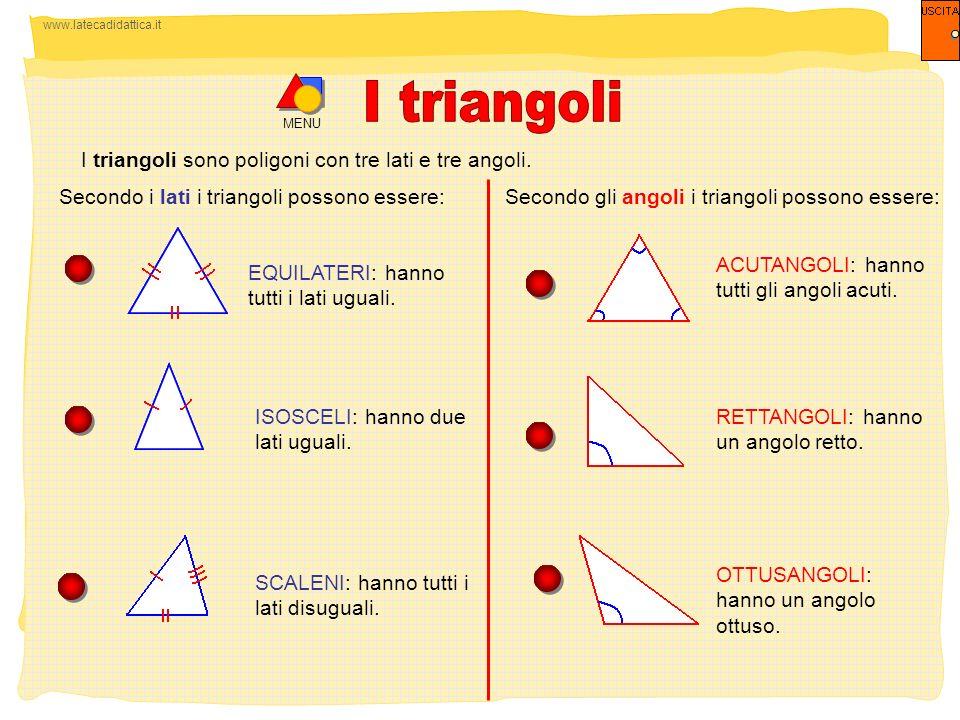 I triangoli I triangoli sono poligoni con tre lati e tre angoli.