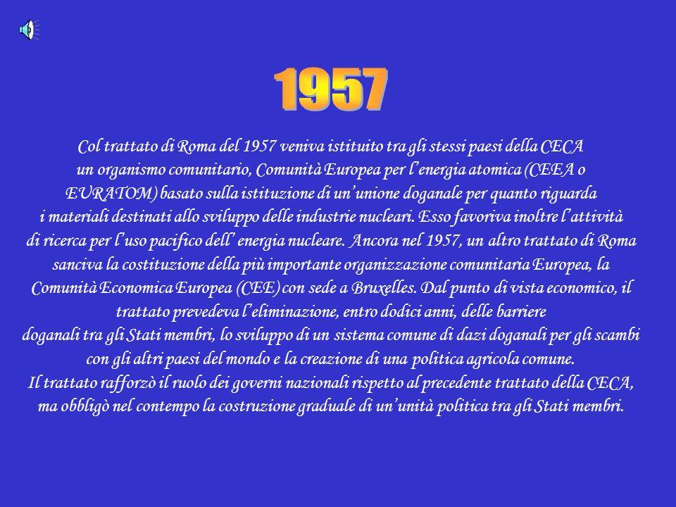 1957 Col trattato di Roma del 1957 veniva istituito tra gli stessi paesi della CECA.