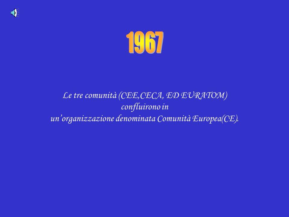1967 Le tre comunità (CEE,CECA, ED EURATOM) confluirono in