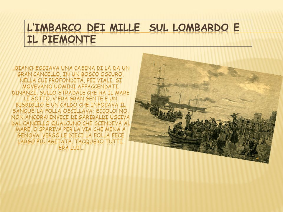 L'Imbarco dei Mille sul Lombardo e il Piemonte