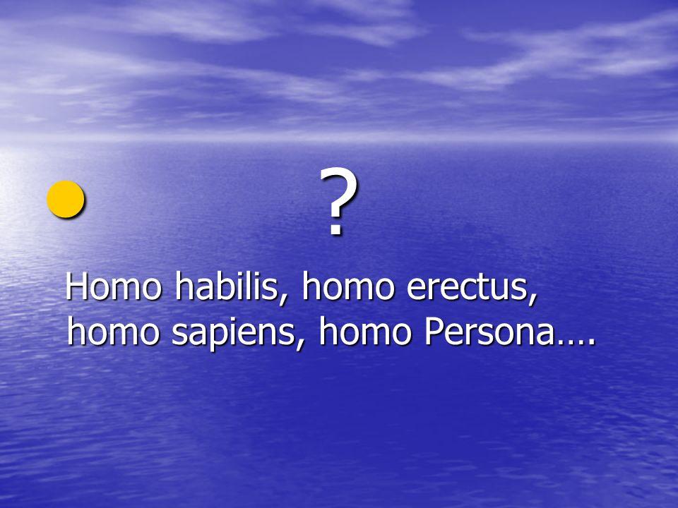 Homo habilis, homo erectus, homo sapiens, homo Persona….