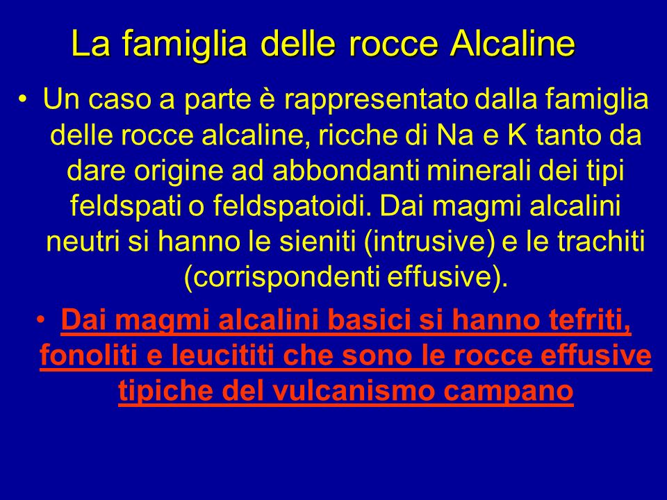La famiglia delle rocce Alcaline
