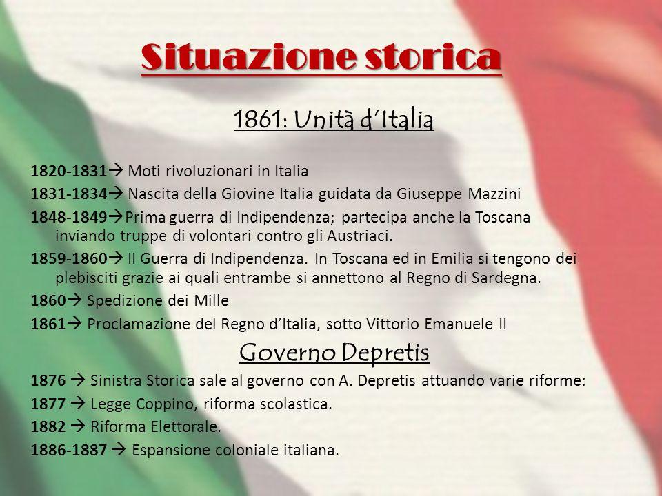 Situazione storica 1861: Unità d'Italia Governo Depretis