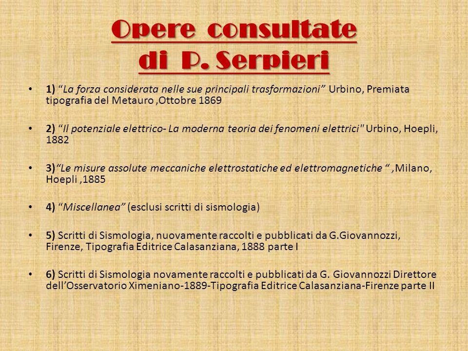 Opere consultate di P. Serpieri