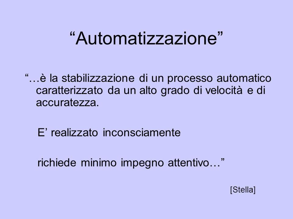 Automatizzazione …è la stabilizzazione di un processo automatico caratterizzato da un alto grado di velocità e di accuratezza.