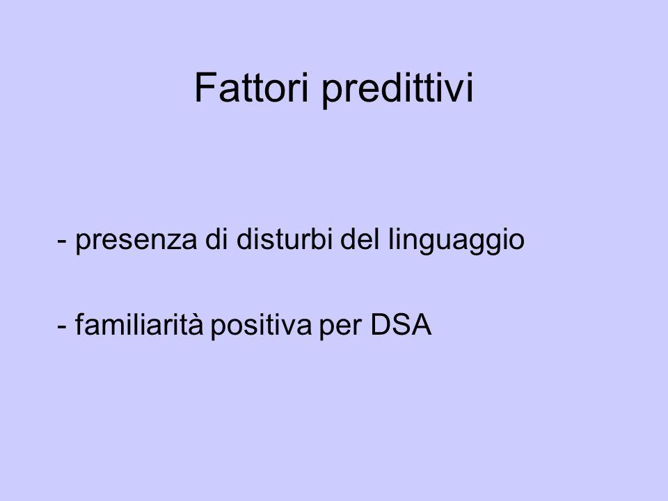 Fattori predittivi - presenza di disturbi del linguaggio