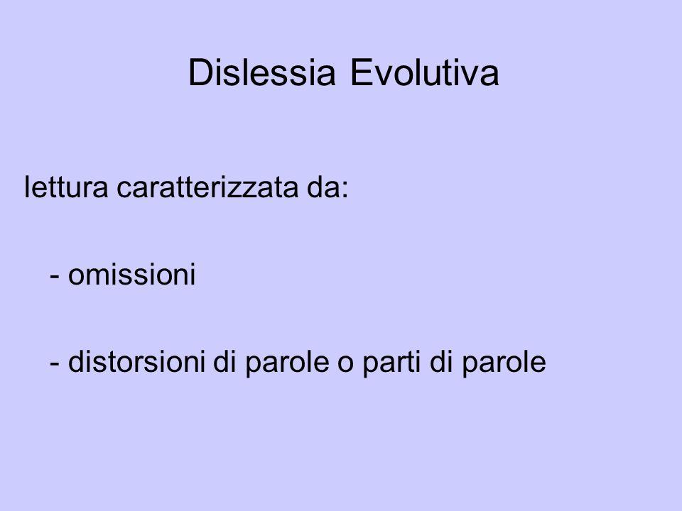 Dislessia Evolutiva lettura caratterizzata da: - omissioni