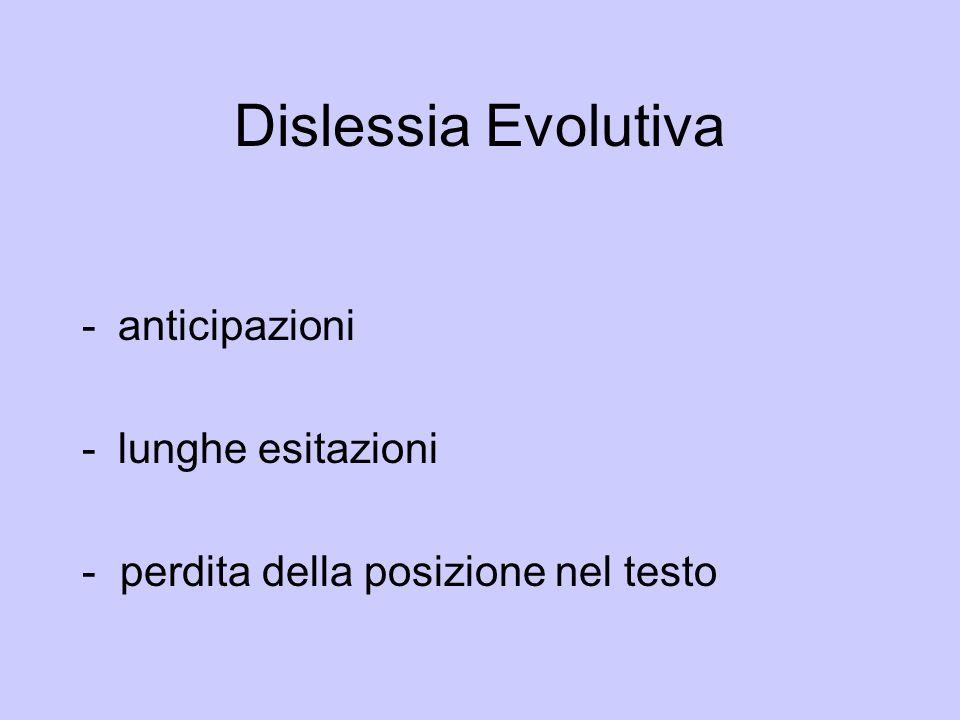 Dislessia Evolutiva anticipazioni lunghe esitazioni