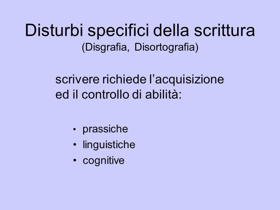Disturbi specifici della scrittura (Disgrafia, Disortografia)