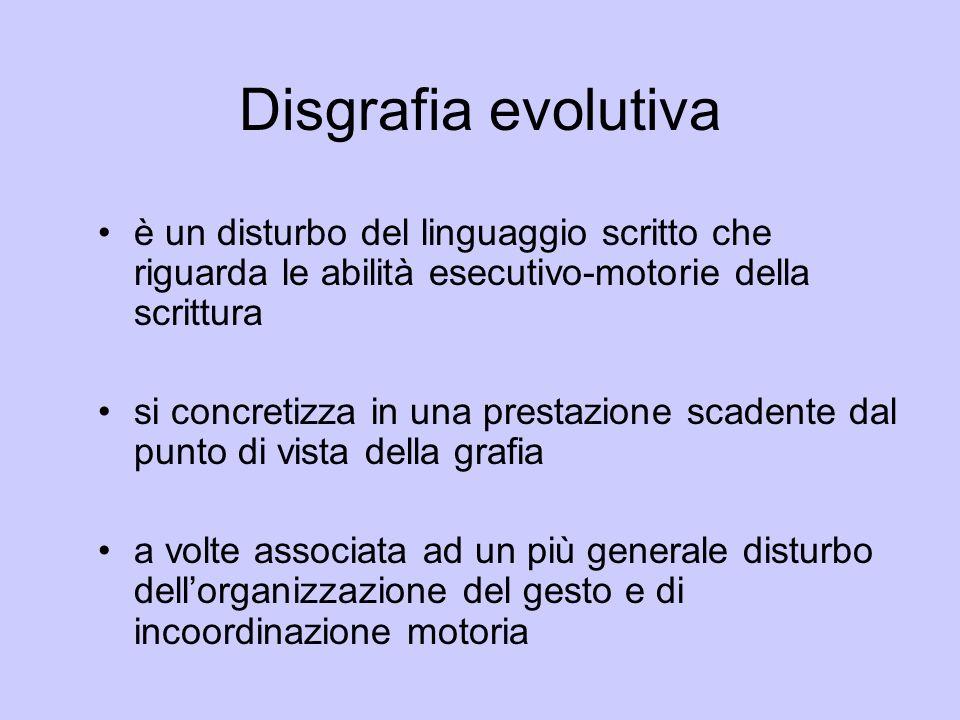 Disgrafia evolutivaè un disturbo del linguaggio scritto che riguarda le abilità esecutivo-motorie della scrittura.