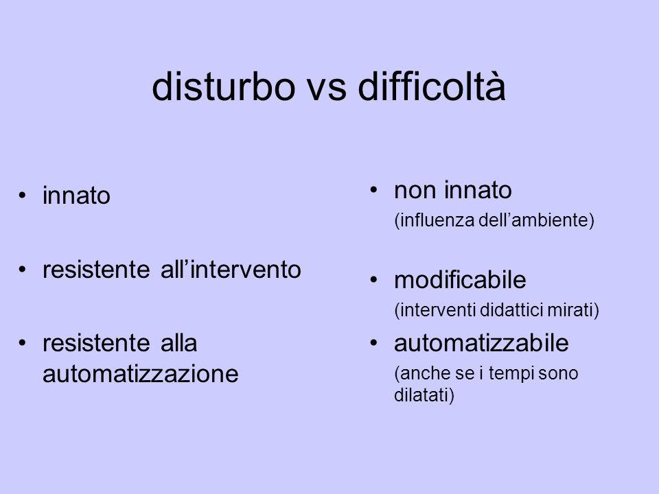 disturbo vs difficoltà