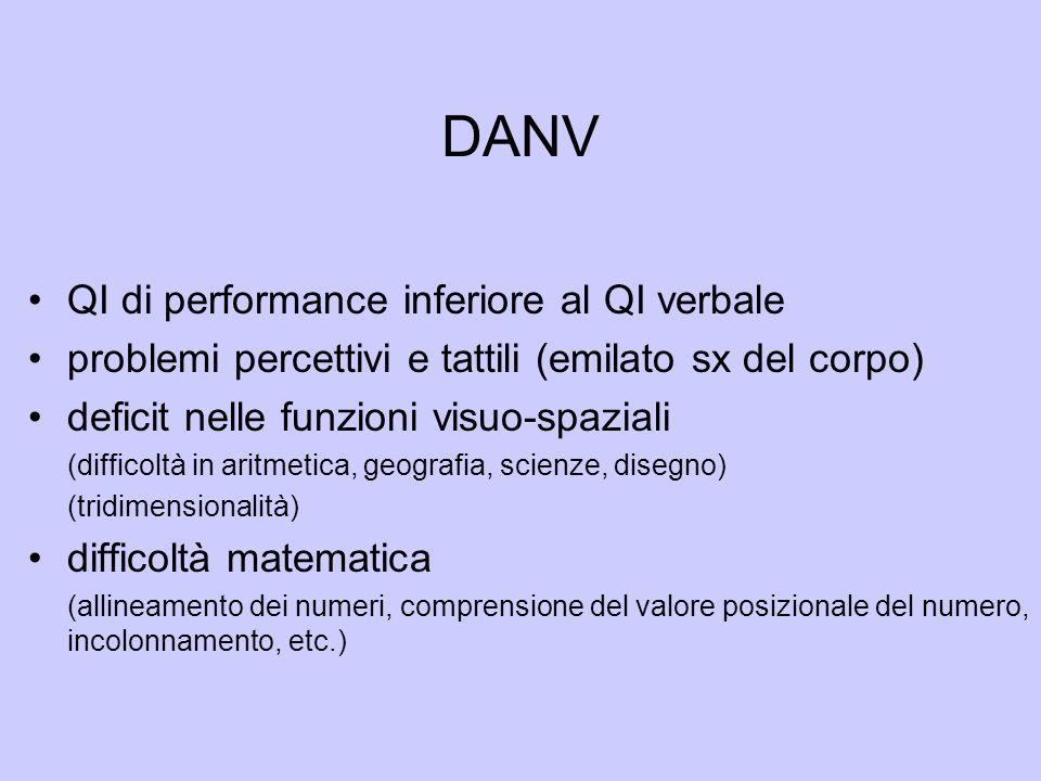 DANV QI di performance inferiore al QI verbale