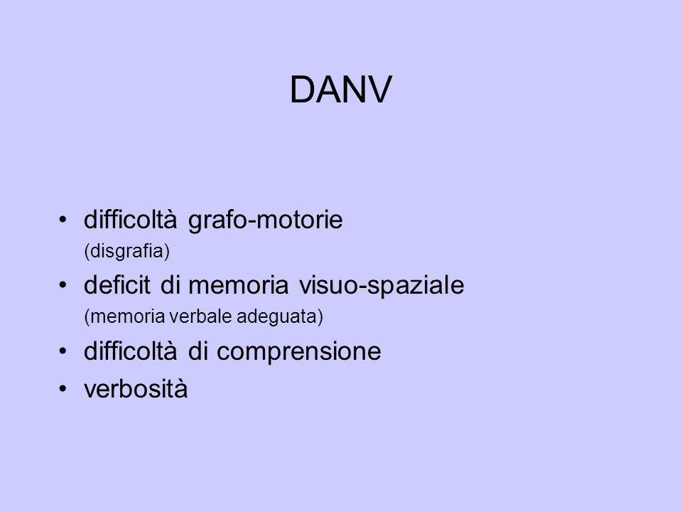 DANV difficoltà grafo-motorie deficit di memoria visuo-spaziale